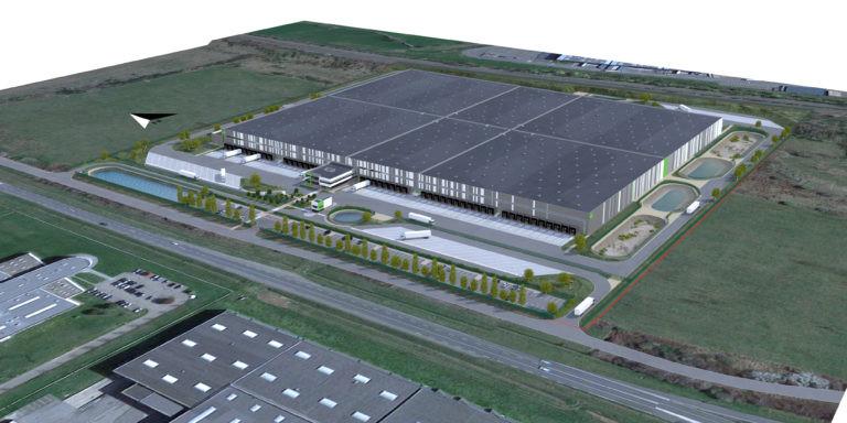 vue aerienne plateforme logistique goodman architecte archi factory