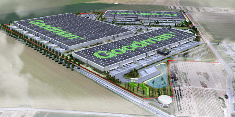 vue aerienne plateforme logistique goodman archi factory