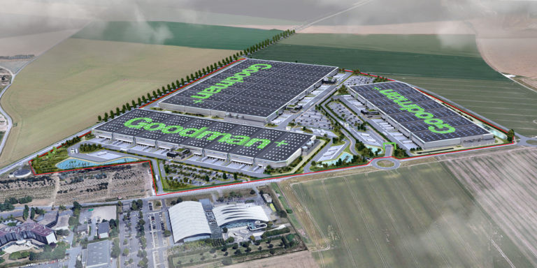 vue aerienne goodman plateforme logistique mesnil amelot archi factory